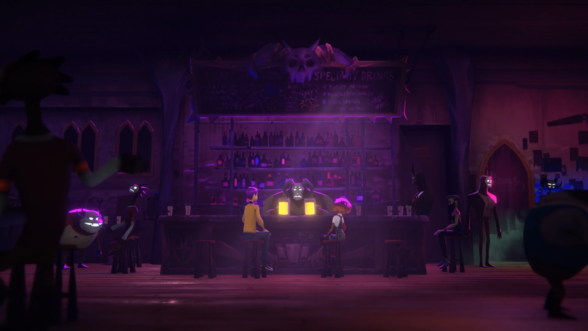 A screenshot from Afterparty