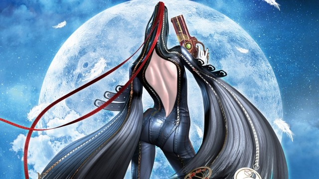 Bayonetta from behind, showing her hair catsuit.