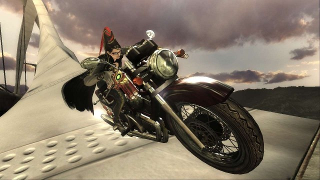 Bayonetta in the first motobike sequence of the game, on a bridge.