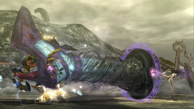 Bayonetta uses a wiked weave move on an enemy