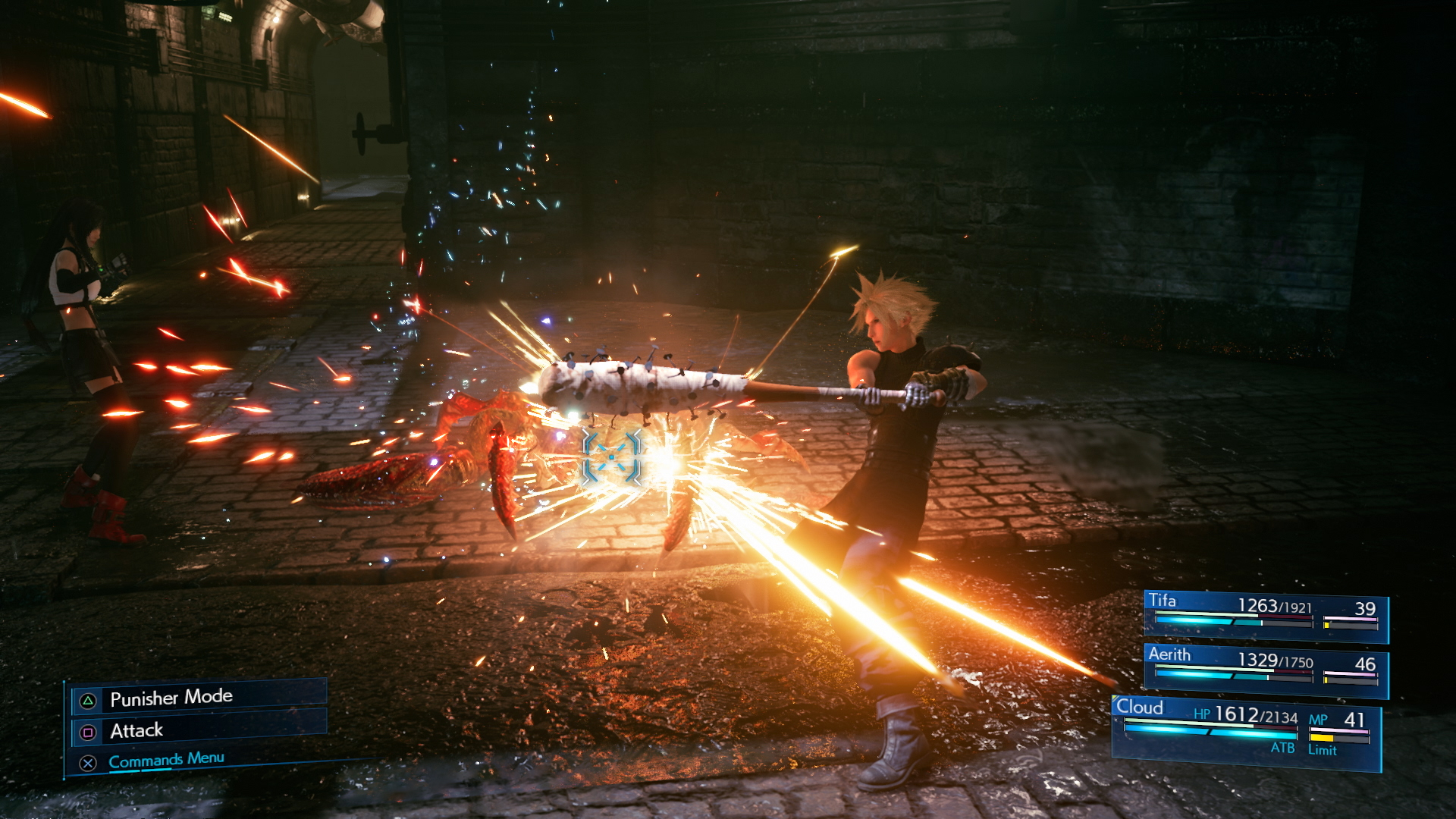Cloud in Final Fantasy VII Remake using a different weapon