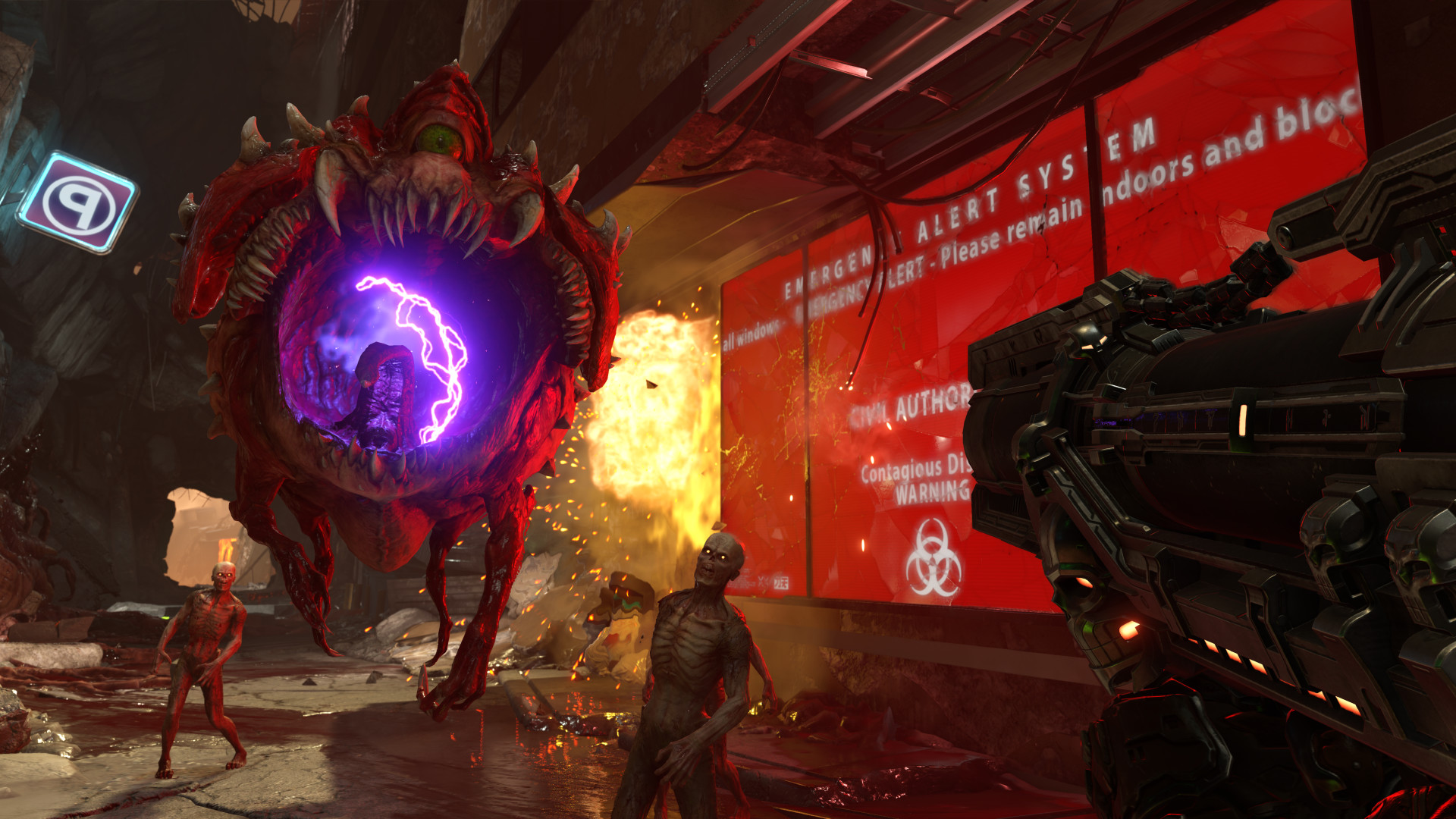 Doom Eternal review - A cacodemon about to get killed