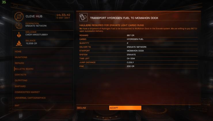 Elite Dangerous Courier Mission
