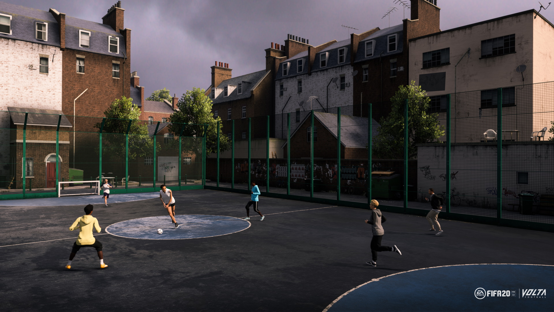 A screenshot from FIFA 20 Volta in London showing smaller goals