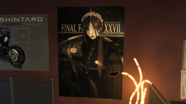The Final Fantasy XXVII poster in Prichard's office at Sarif Industries