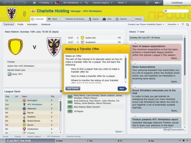 Football Manager 2012 - Charlotte Hickling (Overview Dashboard)