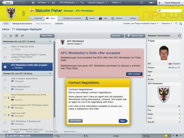 Football Manager 2012 - Malcolm Fisher (News Inbox)
