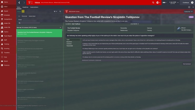 Football Manager 2015 - Journo Question
