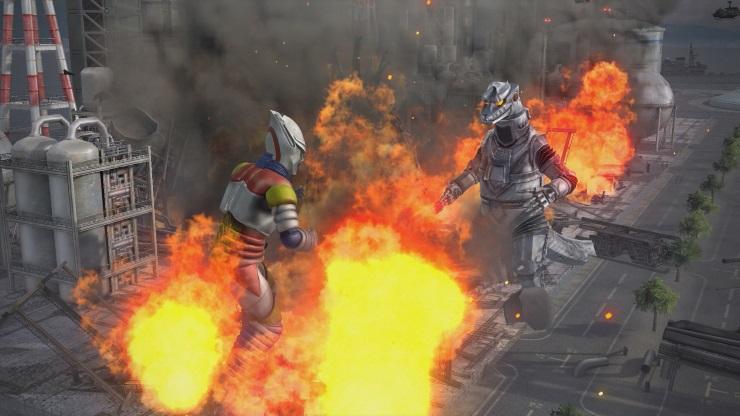 Godzilla fighting kaiju