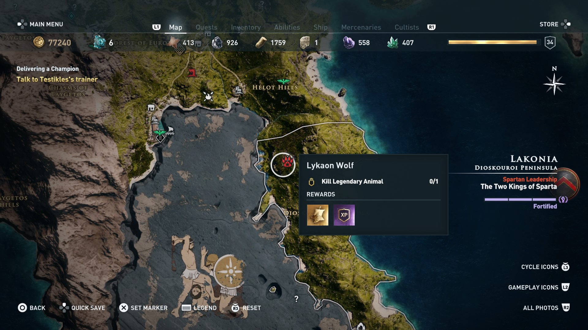 Assassin's Creed Odyssey: The Lykaon Wolf location