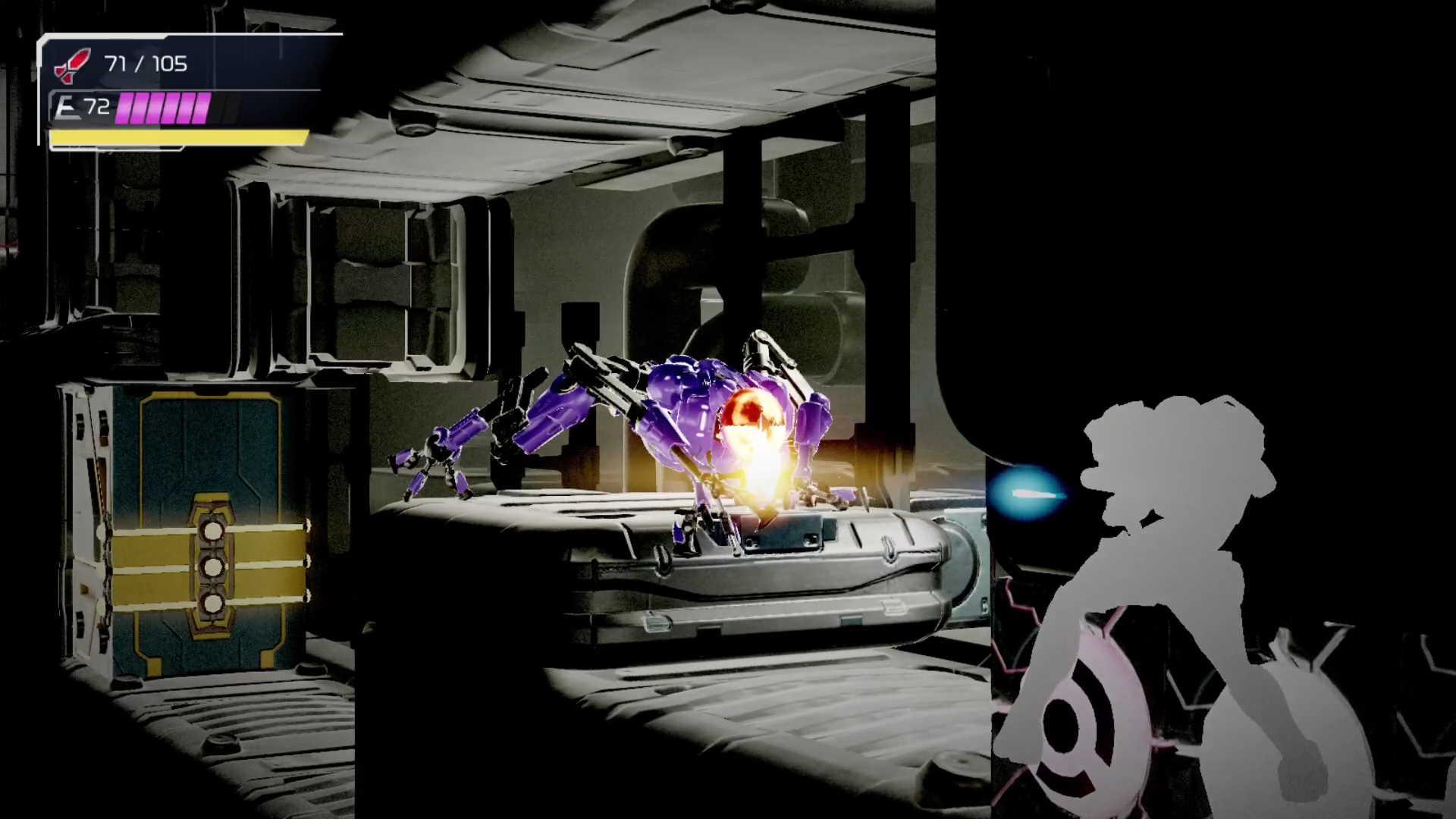 Metroid Dread: Purple EMMI attack