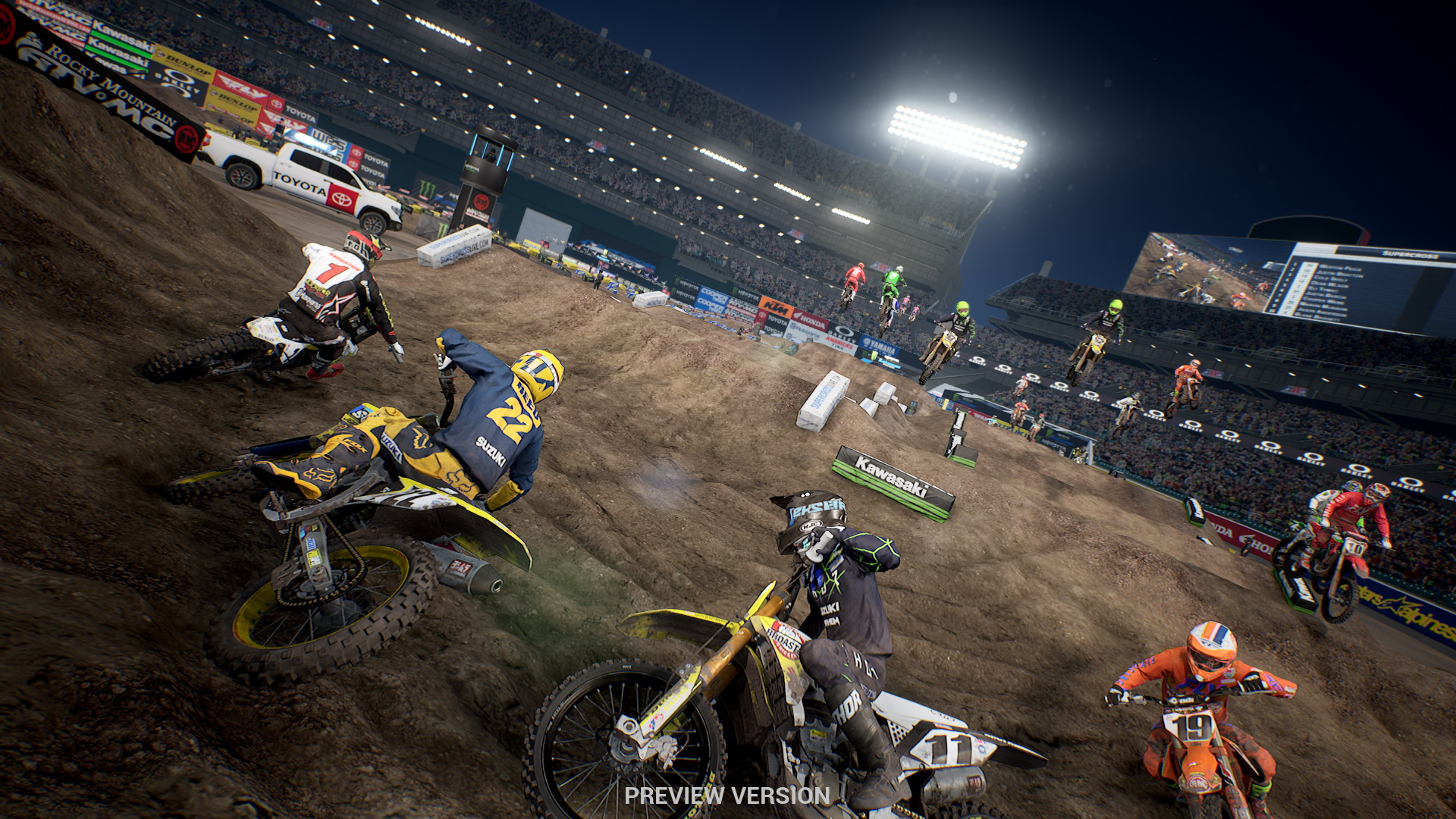 A screenshot from the preview build of Monster Energy Supercross 3