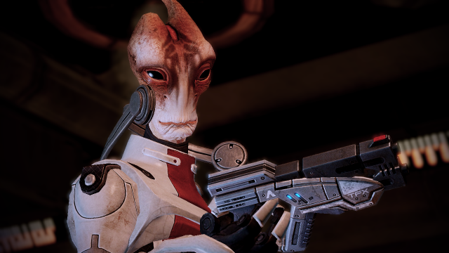 Modin Solus examines a gun in Mass Effect 2