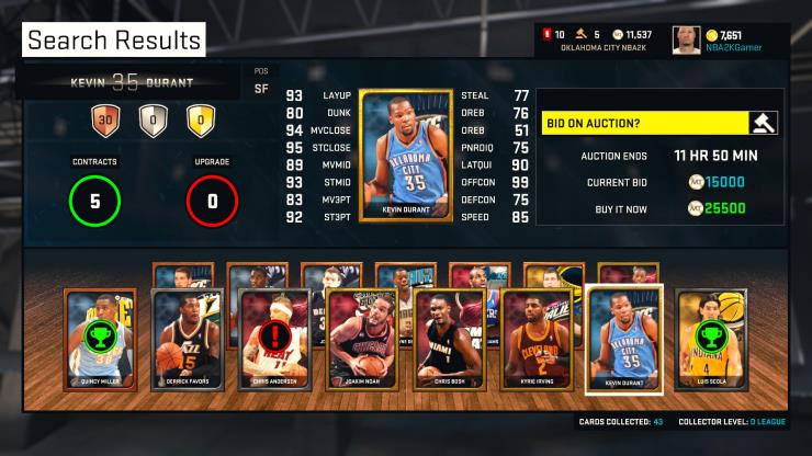 NBA 2K15 MyTeam Auction House