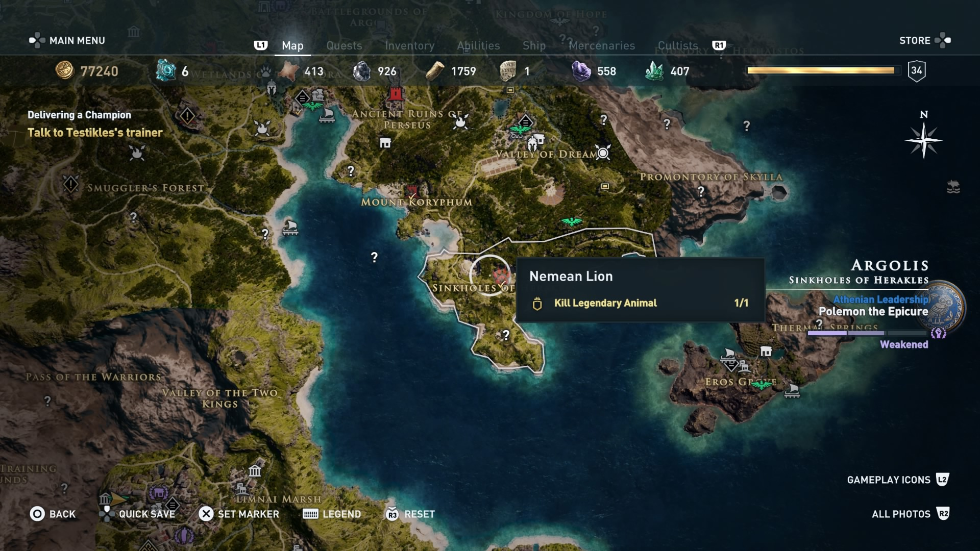 Assassin's Creed Odyssey: The Nemean Lion location