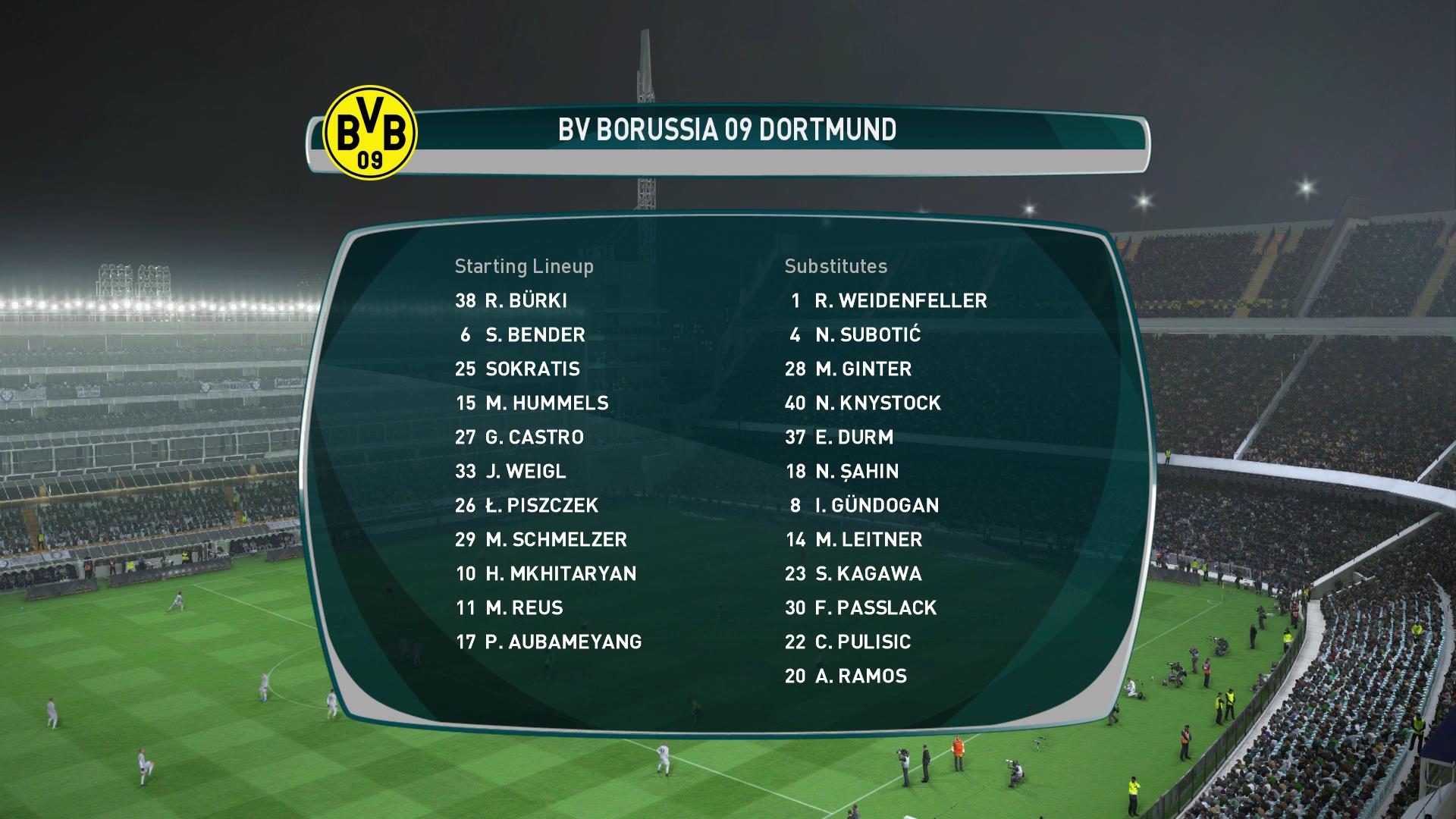 PES 2017 Dortmund lineup
