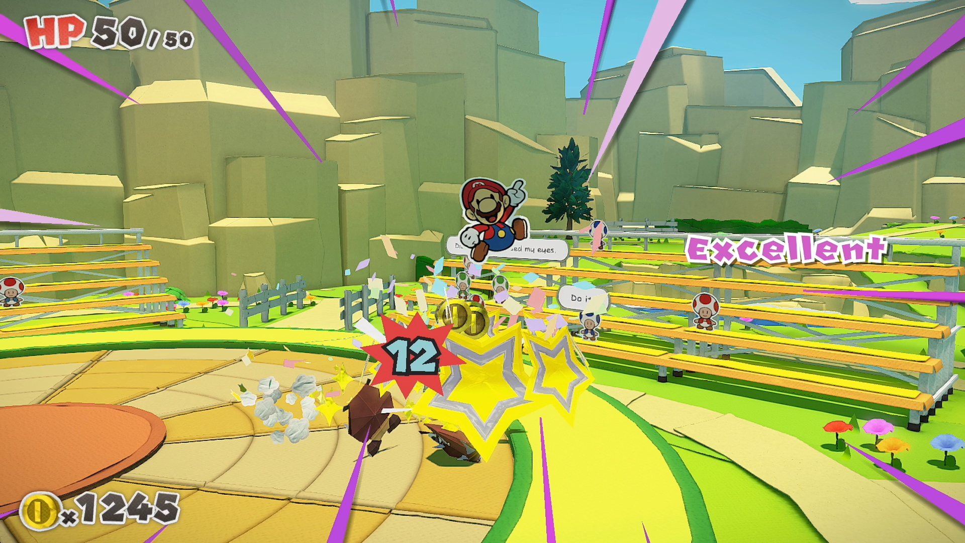 A screenshot from Paper Mario: The Origami King's battle system