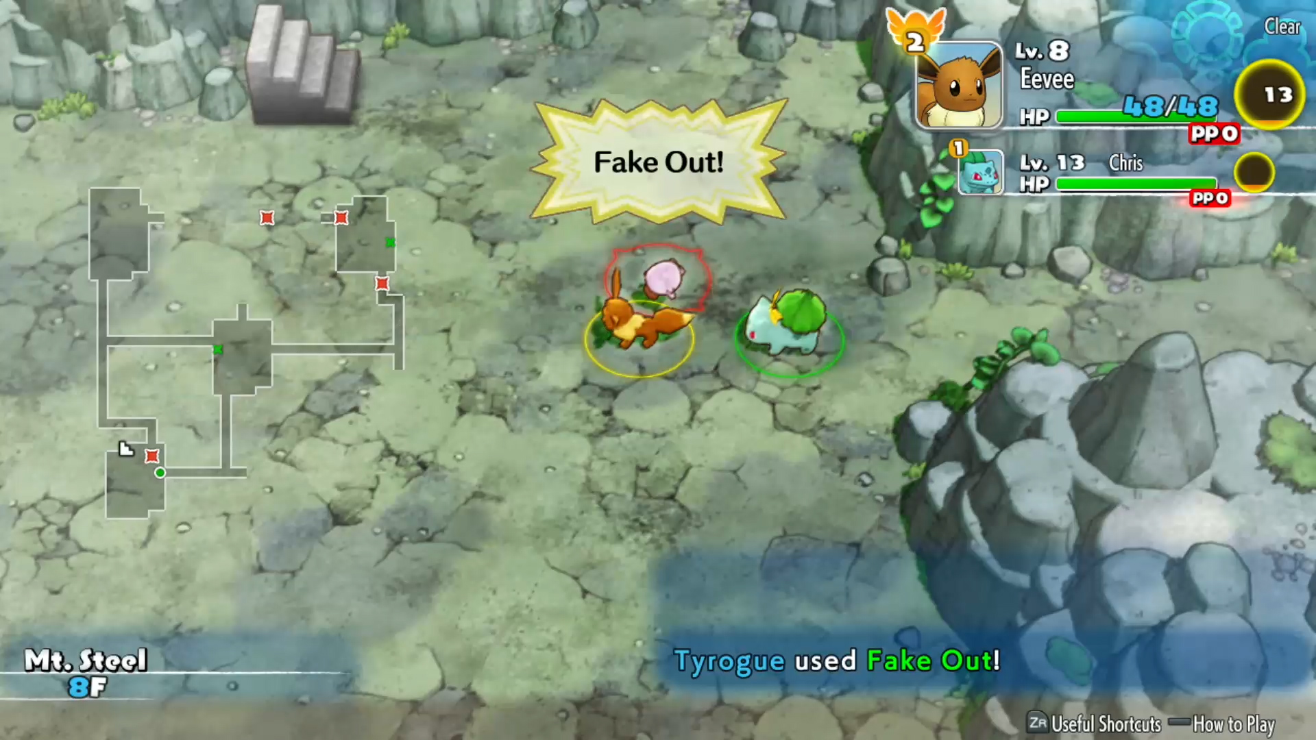 Pokemon Mystery Dungeon Rescue Team DX review - combat screenshot