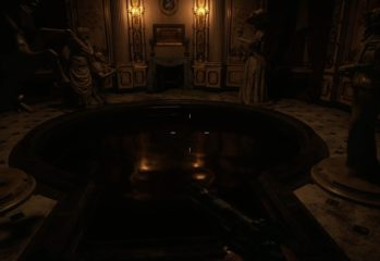 Resident Evil Village Hall of Ablution Statues blood