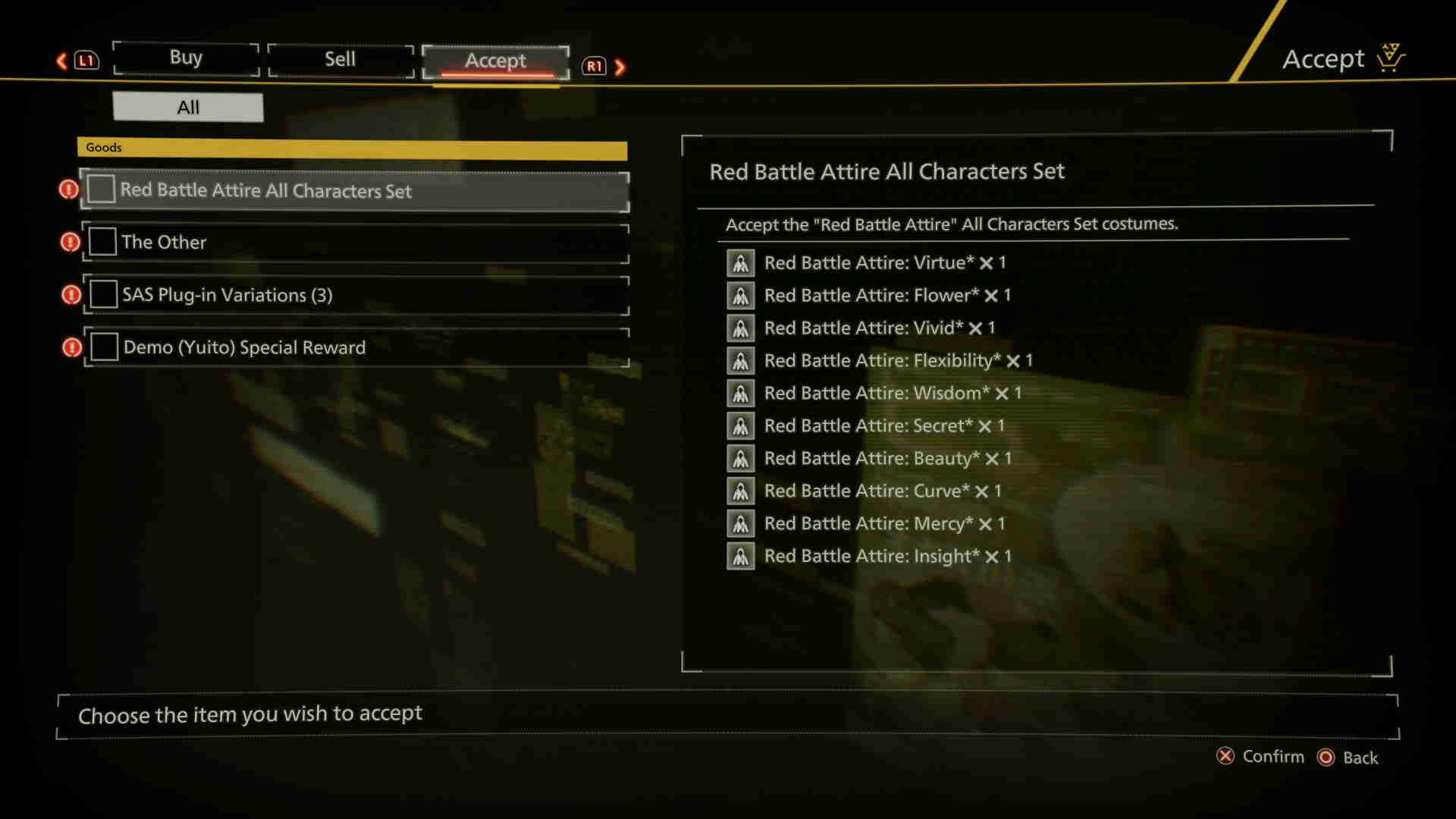 Scarlet Nexus Demo Rewards Items