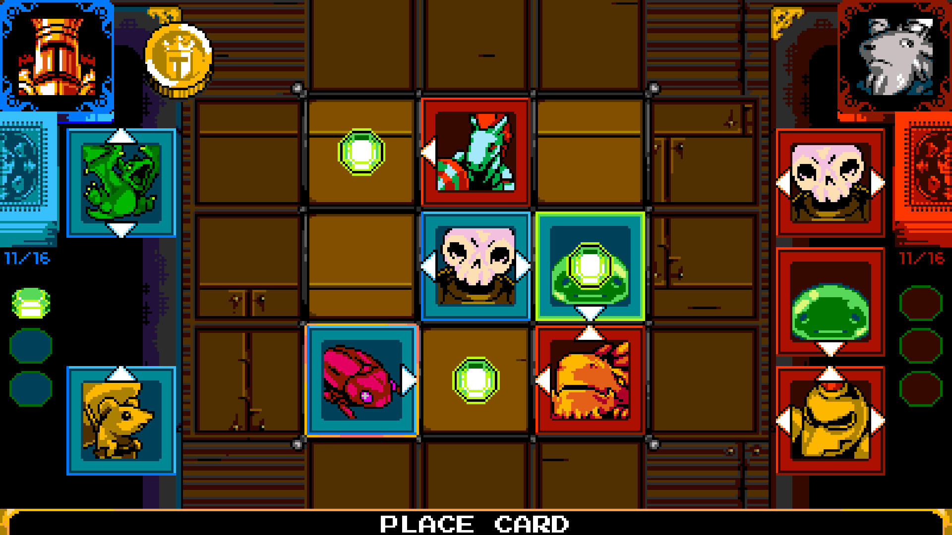 A screenshot from Joustus, the card game.
