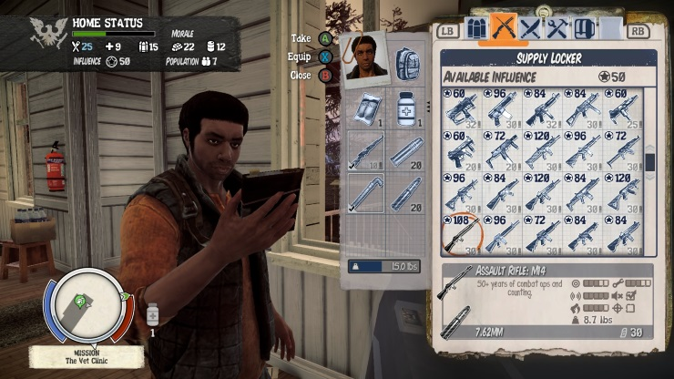 State of Decay Xbox One Menus