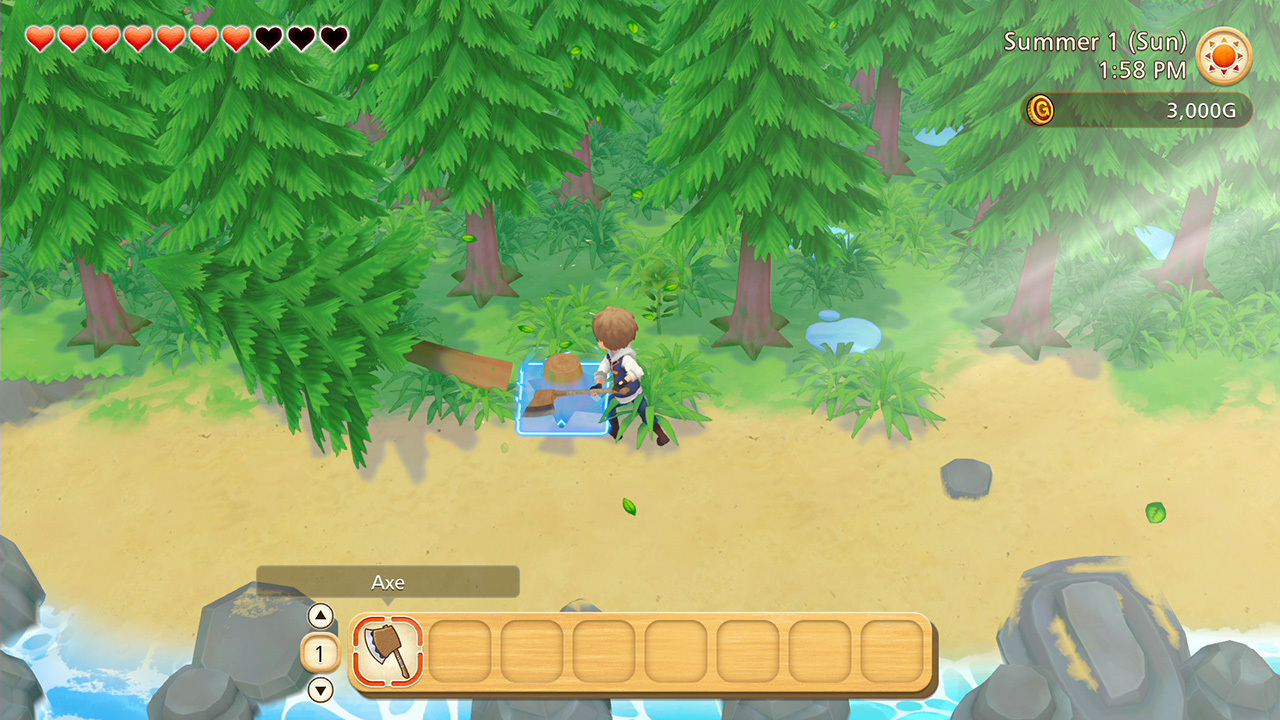 Story of Seasons: Pioneers of Olive Town chopping trees