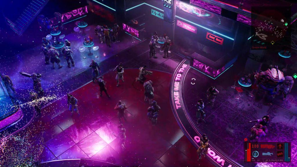A bustling cyberpunk nightclub