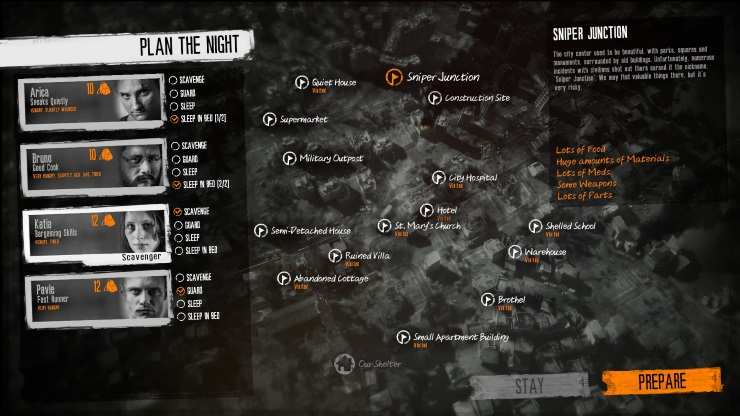 This War of Mine plan the night