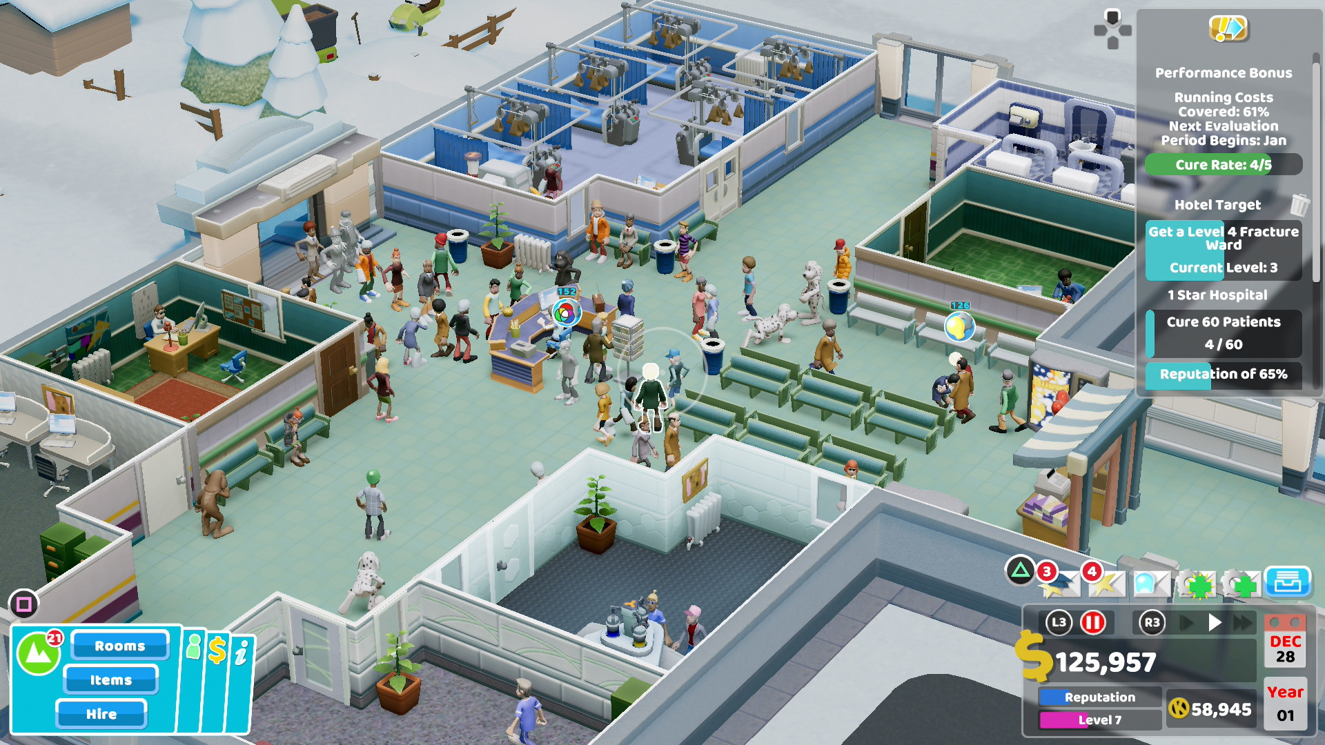 A screenshot of Two Point Hospital on PS4