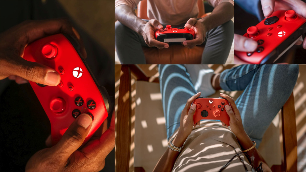 Xbox Series X|S Pulse Red Controller being held