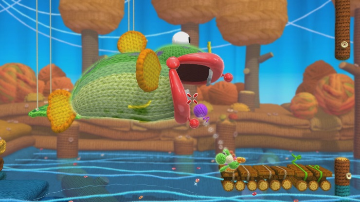 Yoshi's Wooly World - Fish Attack