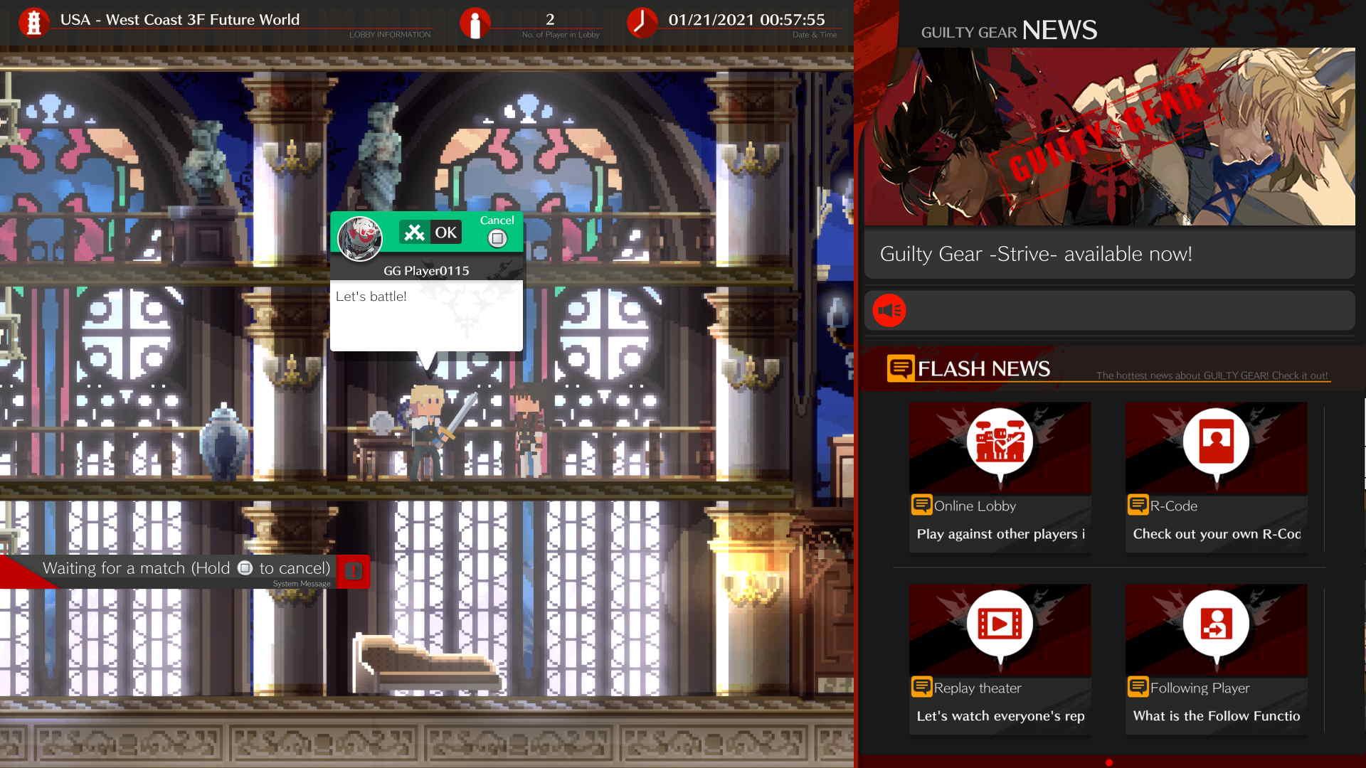 Guilty Gear -STRIVE- Online Lobby