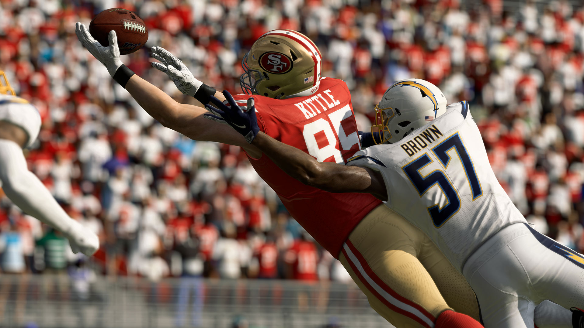 A player trying to make a catch under pressure in Madden NFL 20