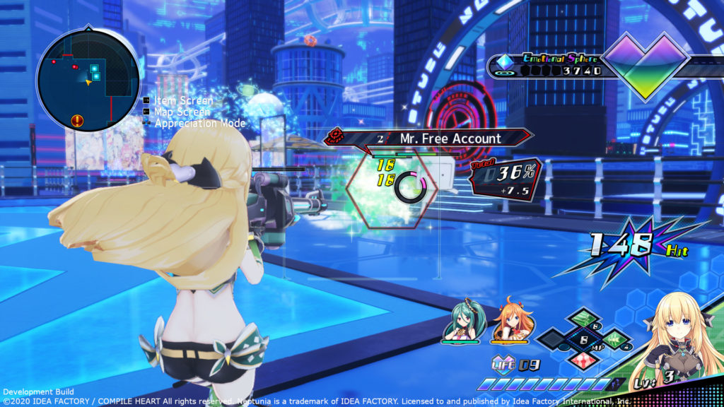 A screenshot of Neptunia Virtual Stars