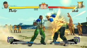 Dudley dishing out a gentlemanly beating to Guile.