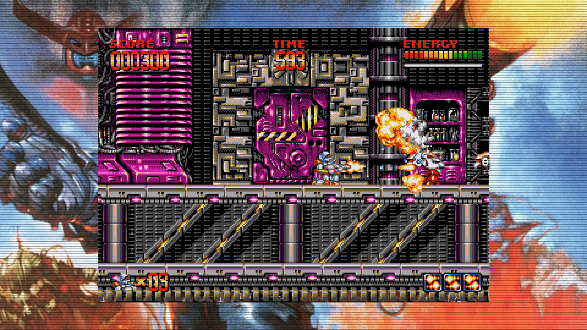 A screenshot from Turrican Flashback on Nintendo Switch