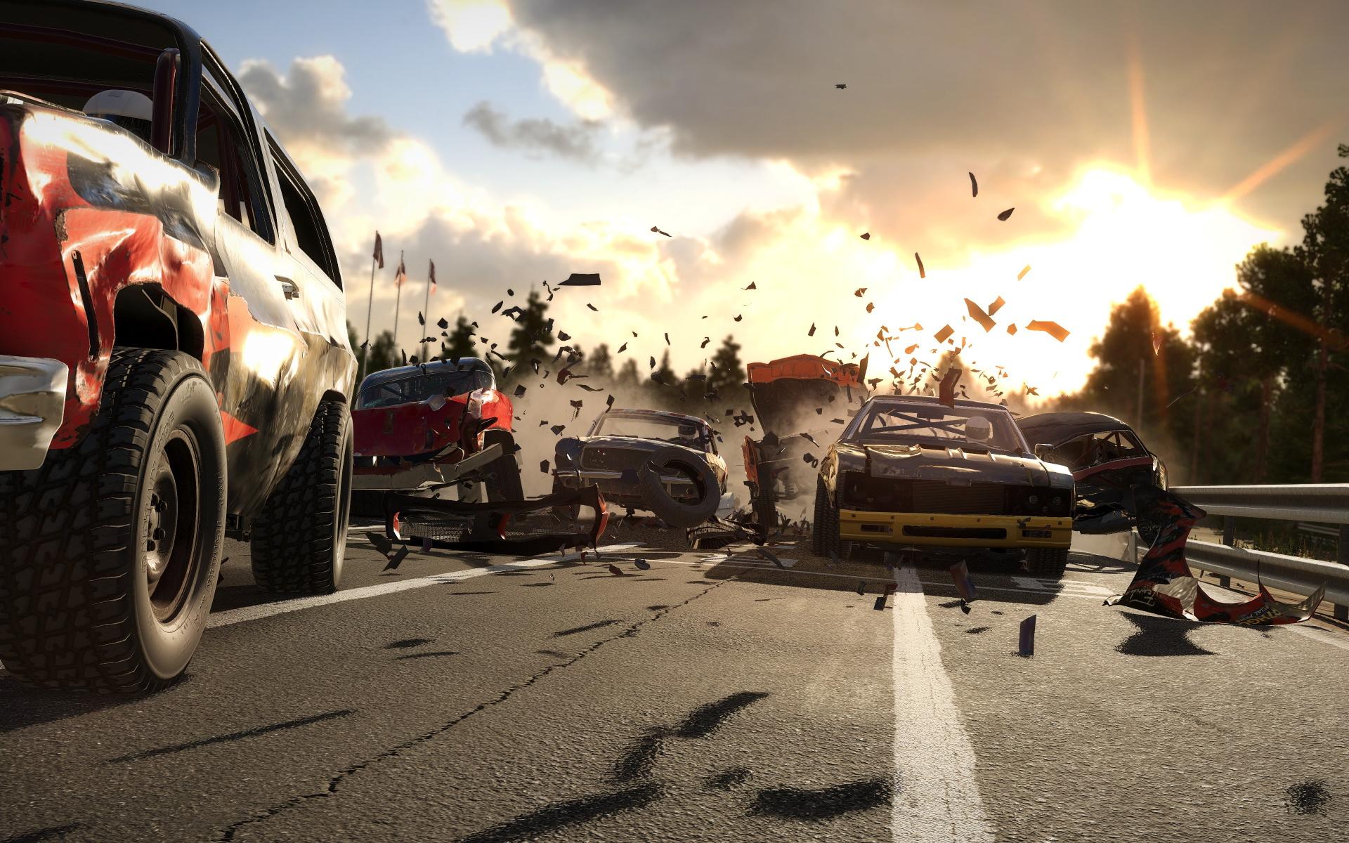 A screenshot of Wreckfest on Xbox One X