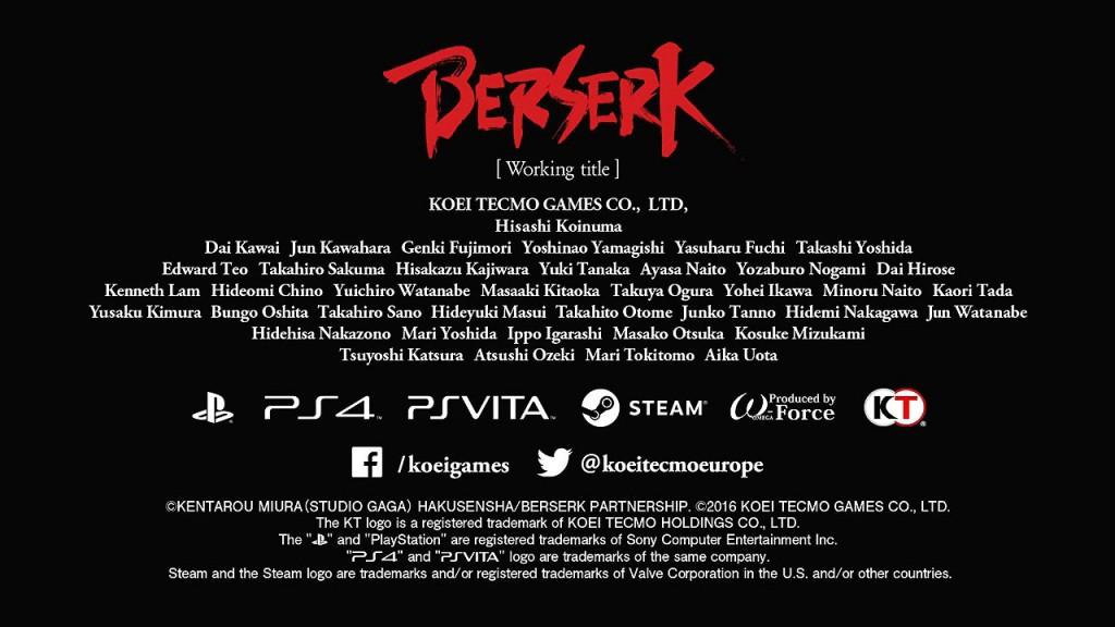 Berserk Game Officially Announced For PS4, PS3, PS Vita and PC